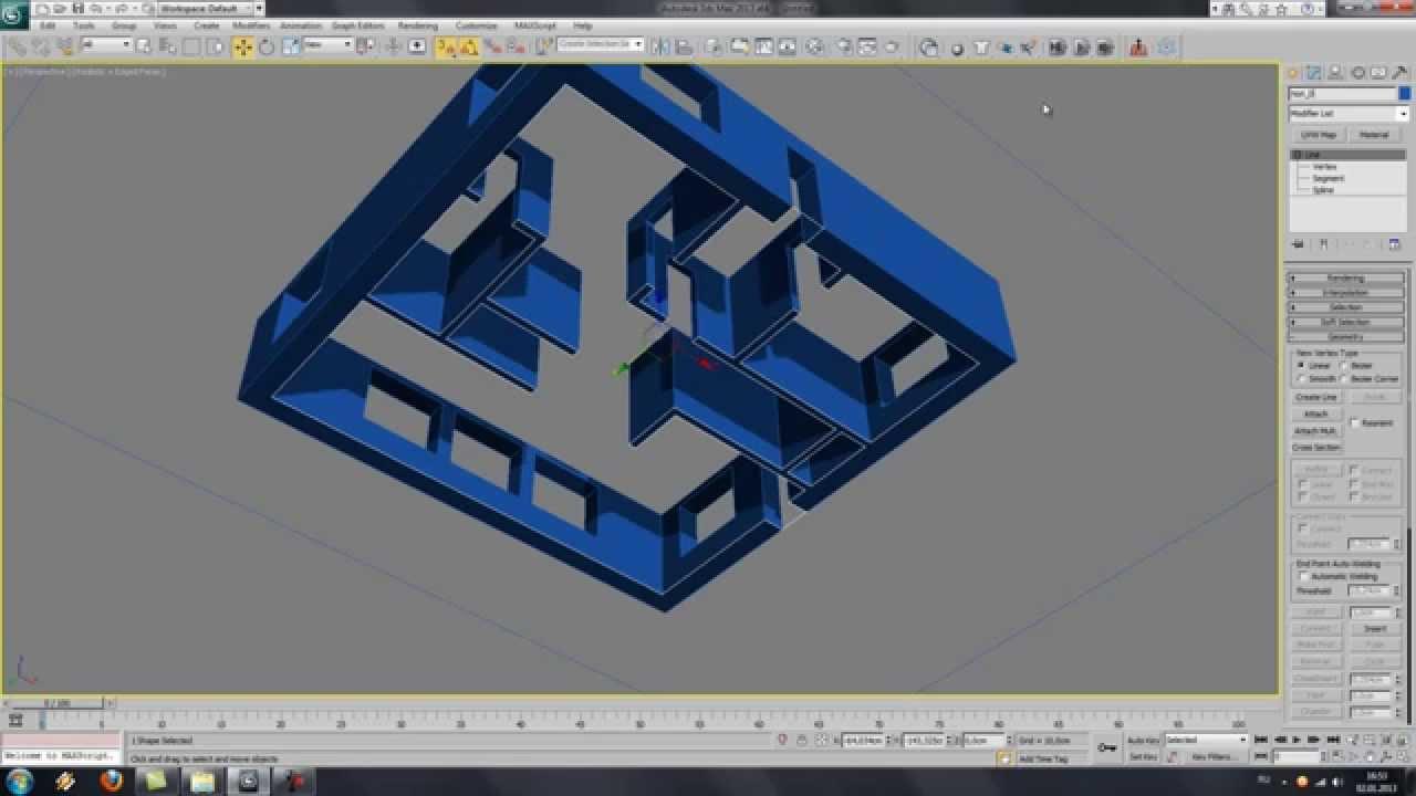 Моделирование здания в 3D Max по чертежу или рисунку - YouTube