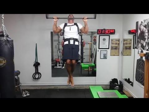 26 pull-ups with a 40 lb pack in 1 minute (No