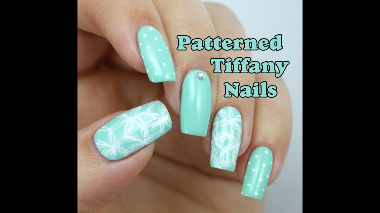 Tiffany Blue Nail Art: Patterned Tiffany Blue Nail Art Design