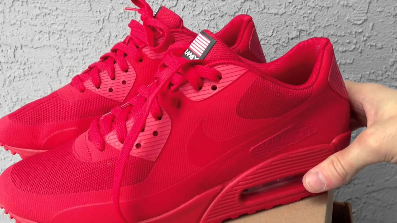nike air max 90 hyperfuse solar red for sale