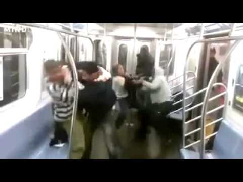 BRUTAL PSYCHO FIGHT In Train MUST SEE