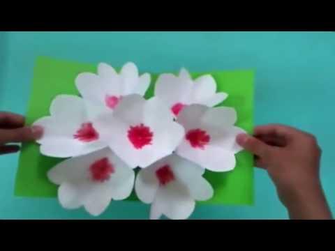 ЛАЙФХАК К 8 МАРТА : 3D открытка своими руками цветы