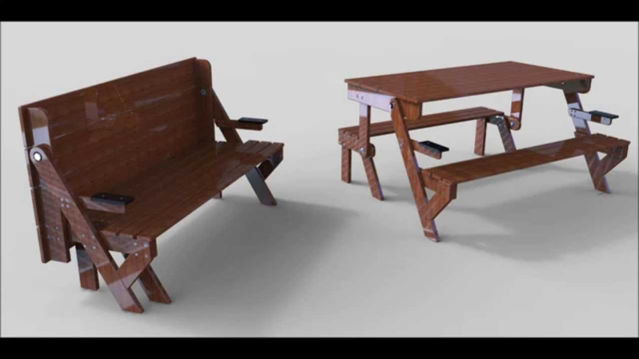 Banc et table youtube for Table en bois et banc