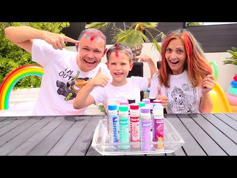 DIY 3 цвета Лака для волос ЧЕЛЛЕНДЖ папа против Макса и Инны или 3 COLOR OF HAIR DYE CHALLENGE!!!