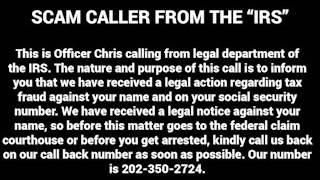 """""""IRS"""" Scam Voicemail. Don't fall for It."""