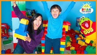 Giant Lego Building Contest for Kids with mommy and Ryan ToysReview