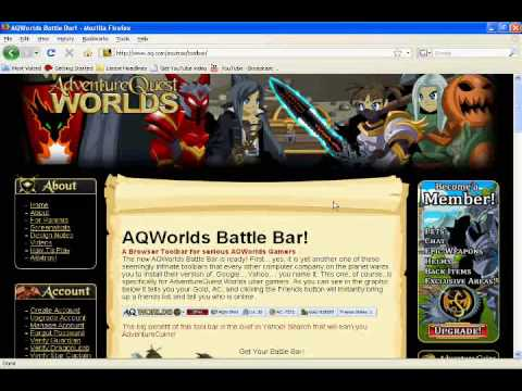 how to get the AQworlds battle bar toolbar!