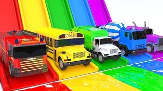 Learn Colors with Excavator VS Street Vehicle Car Slide Bath for Children