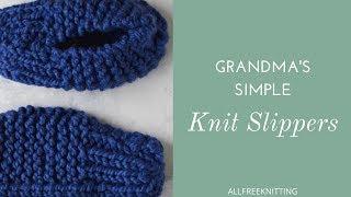 Grandma's Simple Knit Slippers