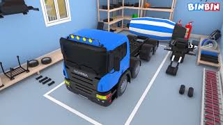 Mixer Truck | Car Garage for Kids | Formation and Uses | Learn Construction Vehicles for Children