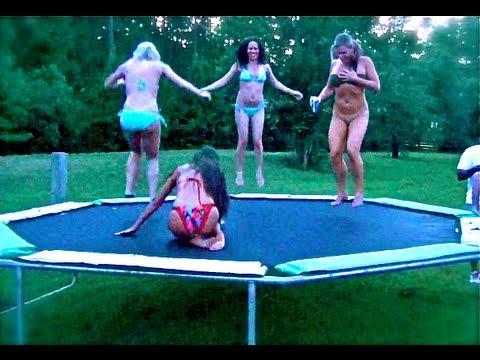BIKINI GIRLS JUMPING ON TRAMPOLINE;) SUMMER FUN on a HOT DAY!