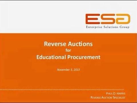 WEBINAR: Reverse Auctions for Educational Procurement