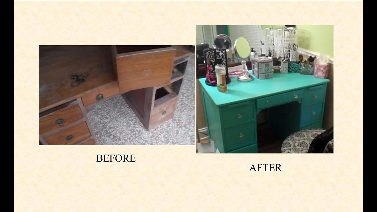 How I Refinished My Vanity Desk YouTube