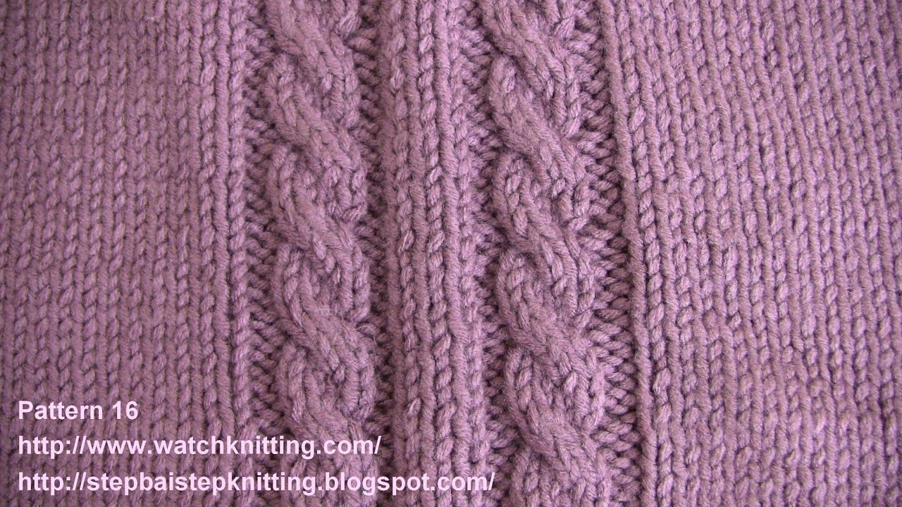 Cable Stitch Knitting Patterns : (Cable Stitch) - Embossed Patterns - Free Knitting Patterns Tutorial - Watch ...