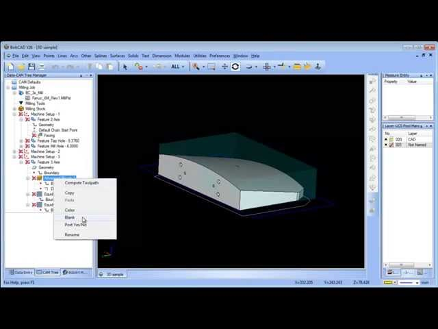 BobCAD CAM V26 3D Tool Path Boundary Options