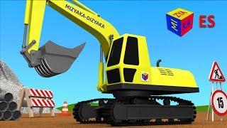 Camiones para niños en español. Juego de construcción: una pala excavadora. Learn Spanish