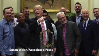 President Donald Trump welcomes the Cubs to the White House