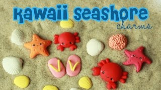 polymer clay Kawaii Seashore Charms TUTORIAL (crab, starfish, seashell, flip flops, sponge)