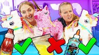 WÄHLE NICHT DIE FALSCHE Piñata Slime Challenge Nina vs. Kathi Einhorn auswählen und Schleim mischen