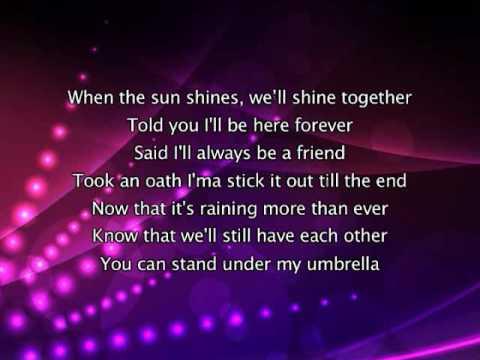 Rihanna - Umbrella, Lyrics In Video