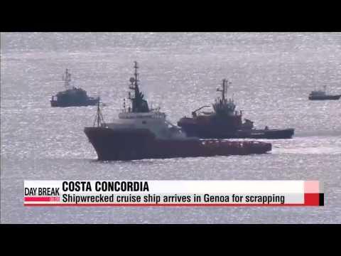 Costa Concordia arrives in Genoa for scrapping