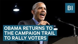 'Our democracy is at stake': Watch Obama return to the campaign trail to rally voters in Virginia