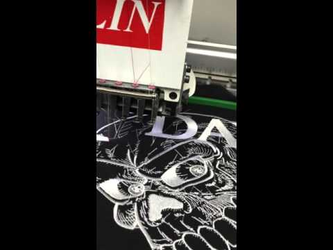 Embroidering Heygidday patches Doublelin Machine Video 2