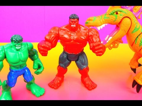 Marvel Avengers Assemble Red Hulk Rage Vs. Incredible HULK and Toy Story Sarge's helicopter