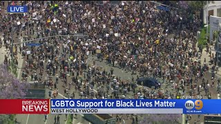 Crowd Quickly Grows In West Hollywood As 'LGBTQ+ For #BlackLivesMatter' Leads Protest