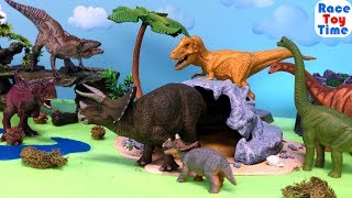 Dinosaurs Stampede! Lots of Dinosaur Toys Stop Motion For Kids