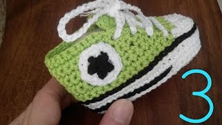 Tutorial Crochet: how to make baby shoes ALL STAR CONVERSE (last part)