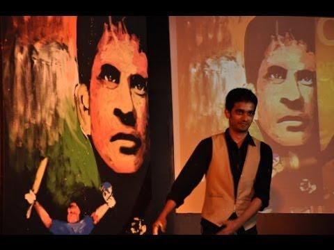 Vilas Nayak painting Master Blaster Sachin Tendulkar for India...