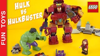 👊 Hulk fights Hulkbuster!!! Who is going to win? Iron Man,  Scarlet Witch, Ultron Lego Toy Juguetes