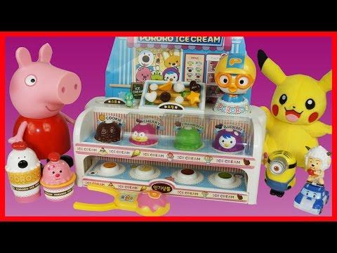 粉紅豬小妹與皮卡丘一起玩波魯魯冰淇淋商店的玩具故事|北美玩具