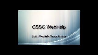 GSSC Web Help - Edit / Publish News Article
