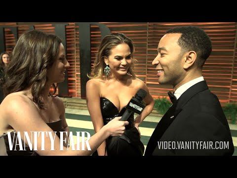 Sports Illustrated Model Chrissy Teigen & John Legend at the 2014 Vanity Fair Oscar Party