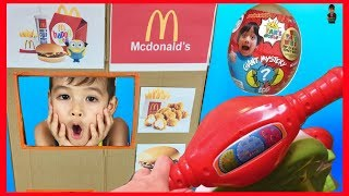 Pretend Play Drive Thru McDonald's Happy Meal Ryan's World Giant Mystery Egg