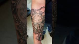 Watch, roses, and locket tattoo
