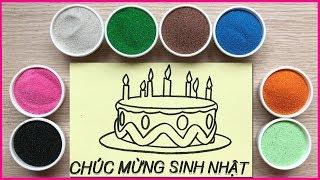 Đồ chơi trẻ em TÔ MÀU TRANH CÁT BÁNH SINH NHẬT - Colored sand painting toys (Chim Xinh)
