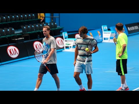 Federer and Edberg warm up - 2014 Australian Open