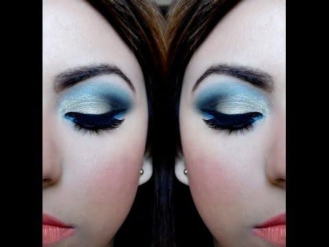 Maquillaje de ojos paso a paso - Sombra dorada y azul