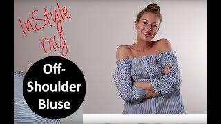 DIY Tutorial: Off-Shoulder-Bluse aus einem alten Männerhemd