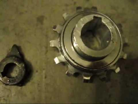 Homemade freewheel sprocket for my1018z motor youtube for Freewheel sprocket for electric motor