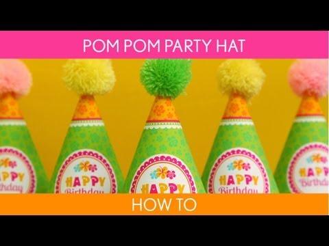 How to make : Pom pom party hat ( Birthday Party )  //  Hawaiian Luau - B45
