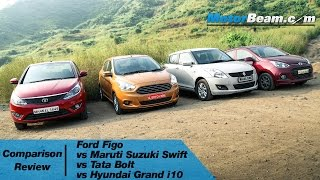 2015 Ford Figo vs Maruti Swift vs Tata Bolt vs Hyundai Grand i10 - Comparison Review | MotorBeam