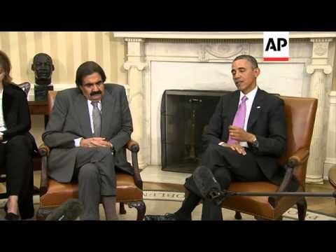 Obama meets the Amir of Qatar at the White House, comments on Syria