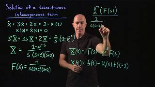 Solution of a differential equation with a discontinuous inhomogeneous term