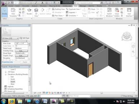 Revit (Autodesk) review lessons 01- creating a bedroom