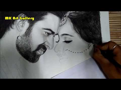 Drawing of Bahubali With Devsena (Prabhas & Anushka Shetty), Bahubali 2, How to Draw Bahubali