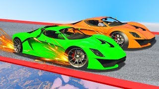 MILE HIGH 350MPH TYRE POP BATTLE! (GTA 5 Funny Moments)